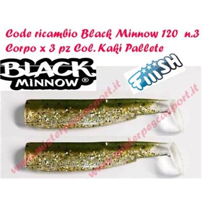 Black-Minnow-120 n.3 Ricambio Coda o Corpo Silicone col.Kaki-Paillette, conf.Coda-3Pz