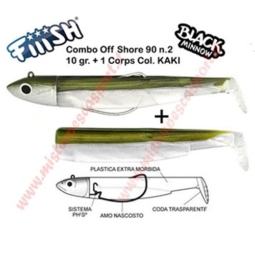 FIIISH BLACK MINNOW 90 SIZE N2 COMBO OFF SHORE 10gr 1 CORPS PESCA A SPINNING TRAINA MARE FIUMI LAGHI col KAKI