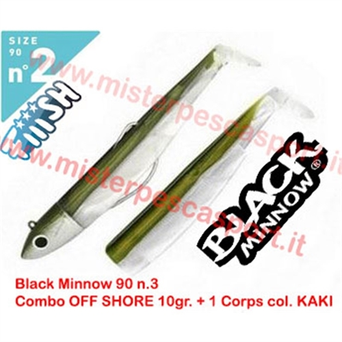 FIIISH BLACK MINNOW 90 SIZE N2 COMBO OFF SHORE 10gr 1 CORPS PESCA A SPINNING TRAINA MARE FIUMI LAGHI col KAKI