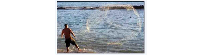 Rete da pesca rezzaglio, Rete sparviero, Iacco. Rete nylon, manifattura artigianale realizzati con antiche tecniche marinare, doppio piombo per una rapida chiusura in acqua.